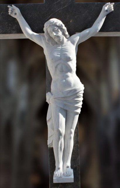 """Hand Carved Marble Sculpture """"Crucified Christ"""""""