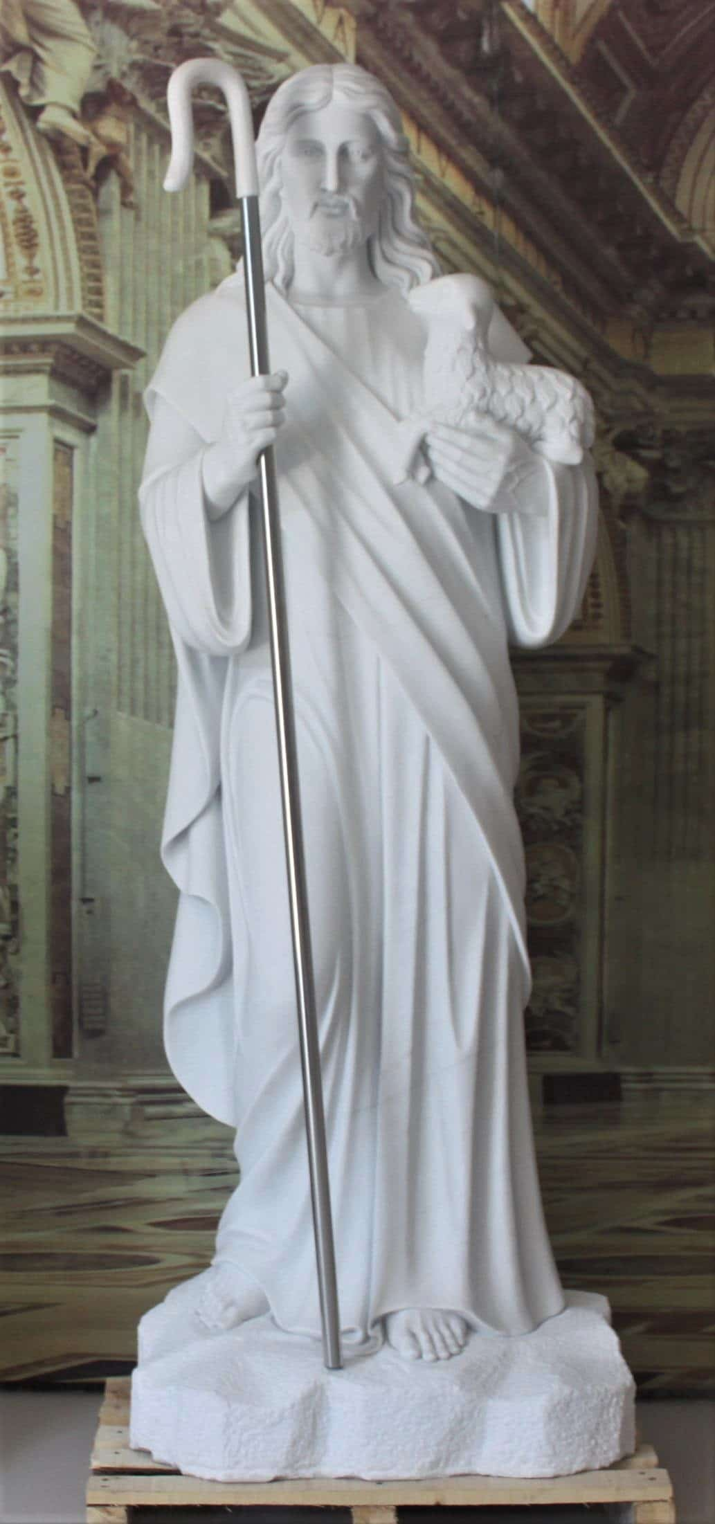 """Hand Carved Marble Statue """"Good Shepherd"""""""