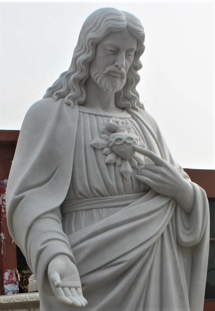 """Hand Carved Marble Statue  """"Sacred Heart"""""""