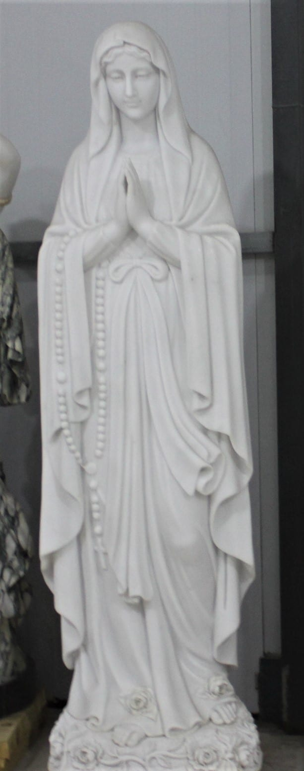 """Hand Carved Marble Statue """"Our Lady of Lourdes"""""""