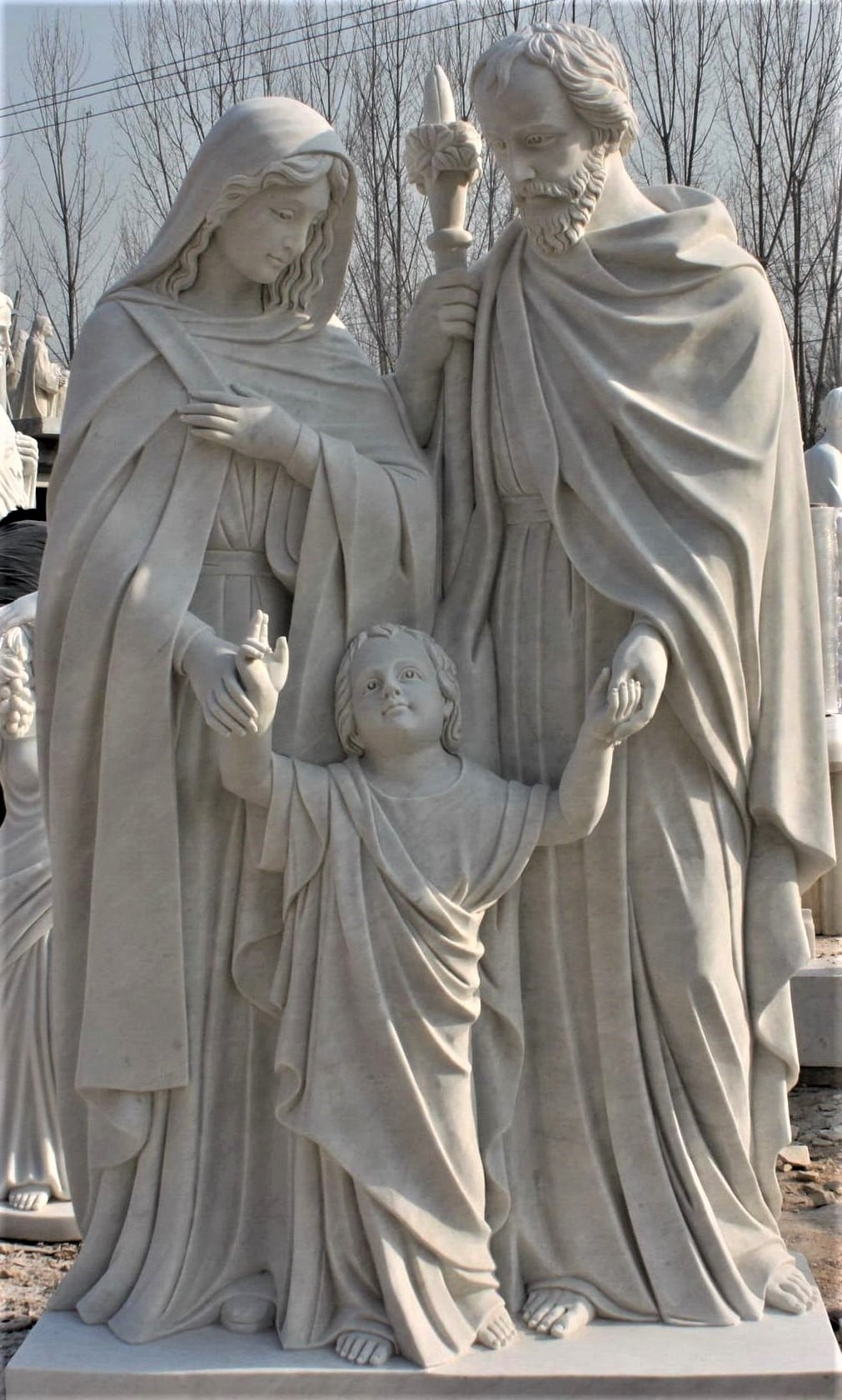 """Hand Carved Marble Statue """"Holy Family"""""""