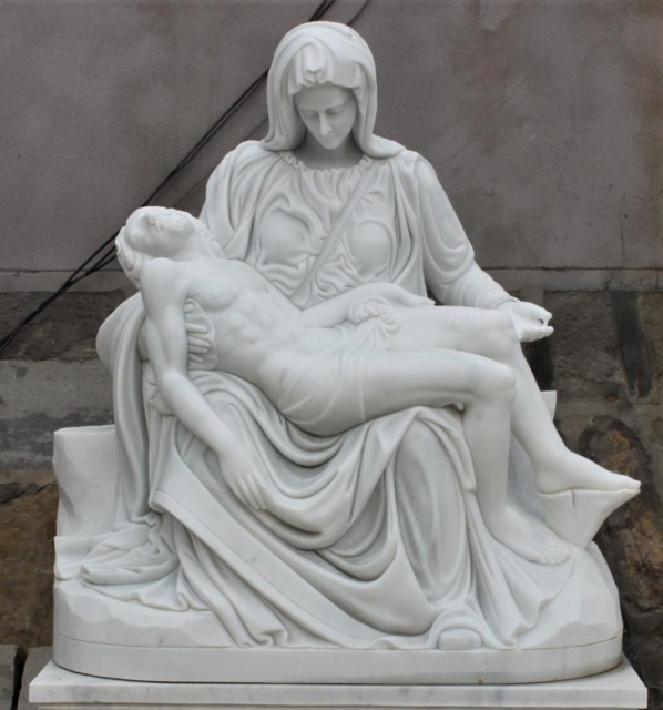 """Hand Carved Marble Statue """"Pieta"""""""