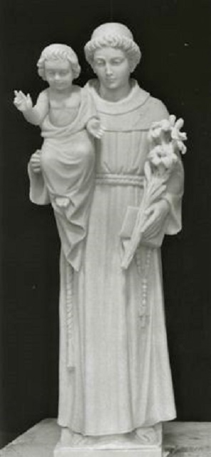 """Hand Carved Marble Statue """"St. Anthony with Child"""""""