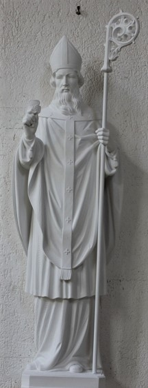 """Hand Carved Marble Statue """"St. Patrick"""""""
