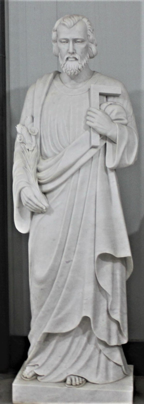 """Hand Carved Marble Statue """"St Joseph the Worker"""""""