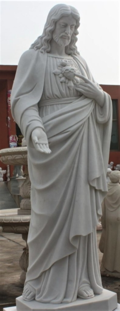 """Hand Carved Marble Sculpture """"Sacred Heart"""""""