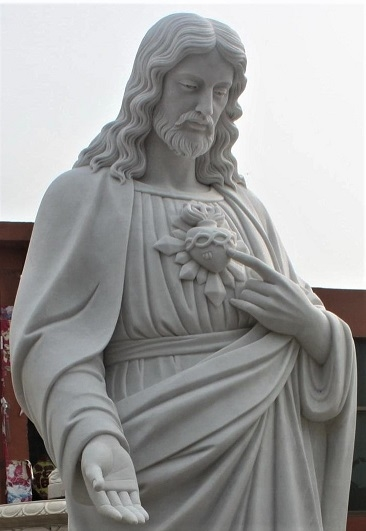"""Hand Carved Marble Sculture """"Sacred Heart"""""""