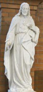 Sacred Heart religious statue, marble religious sculpture