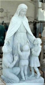 blessed mother with children religious statue| blessed mother religious sculpture| marble statue| marble sculpture| marble religious statue