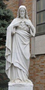 sacred heart statue, sacred heart religious figure, marble statue