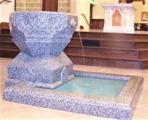 baptismal font, waterfall baptismal font, granite baptismal font