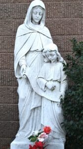 St. Ann with Mary, marble statues, religious statues