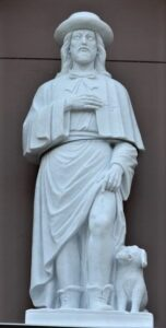 relgious figures, religious statues, St Rocco, marble statues