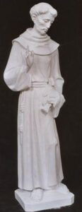 religious figures, religious statues, St. Francis of Assisi, marble statue