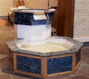 baptismal font, waterfall baptismal font, marble baptismal font