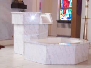 baptismal font, waterfall baptismal font, marble font