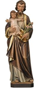 st joseph, st joseph with child, wood carved statue,
